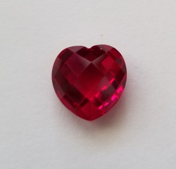 6.81 ct Cherry Red Quartz Heart Checkerboard Cut Loose Gemstone