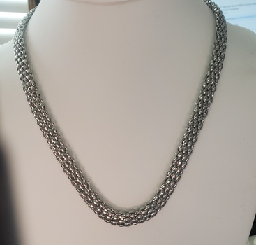 No Reserve 316L Stainless Steel Mesh 8mm Chain Necklace