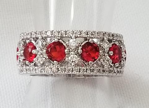 No Reserve Ruby & Topaz Ring Size 7