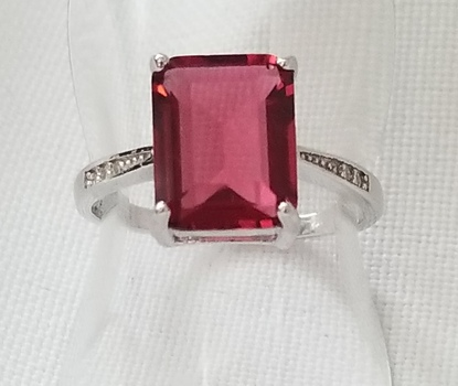 No Reserve Ruby & Topaz .925 Sterling Silver Ring Size 7