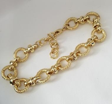New 18k Yellow Gold Bonded Brass Fancy Circle Link Bracelet