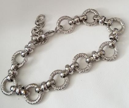 New 18k White Gold Bonded Brass Fancy Circle Link Bracelet