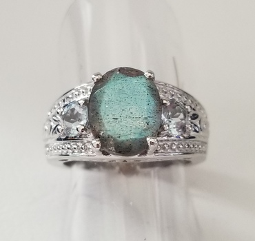 New Natural Labradorite & Blue Topaz Ring Size 6