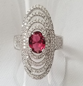 No Reserve Ruby & Topaz Ring Size 6