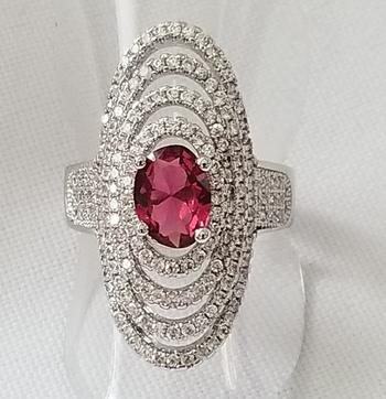 No Reserve Ruby & Topaz Ring Size 8