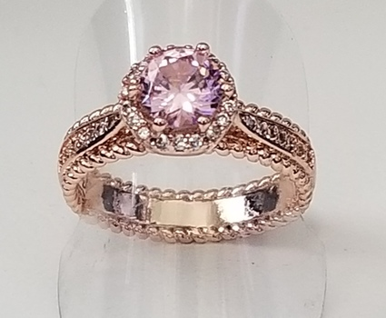 New Pink & White Topaz Ring Size 8