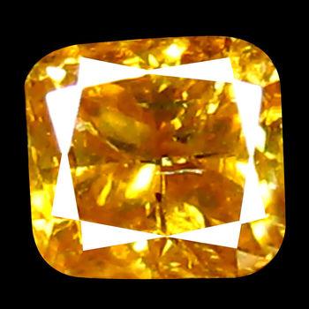 VIDEO .13 ct Natural Orange Diamond Cushion Cut Loose Gemstone