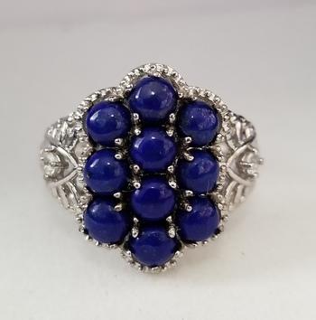 New Natural Lapis Lazuli & Topaz Cluster Ring Size 6