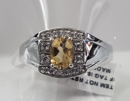 No Reserve Natural Citrine 316L Stainless Steel Size 13