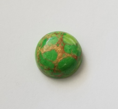 8.56 ct Mojave Green Copper Turquoise Round Cab Cut Loose Gemstone