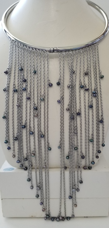 Brand New Natural Peacock Freshwater Pearl Fringe Collar Necklace