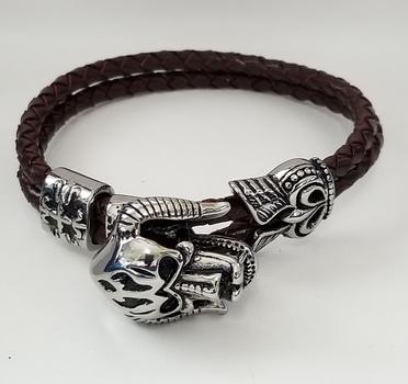 Brand New Ram Skull Leather Bracelet
