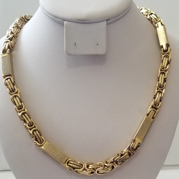New Heavy 18k Yellow Gold Bonded 316L Stainless Steel Greek Key Byzantine Chain Necklace