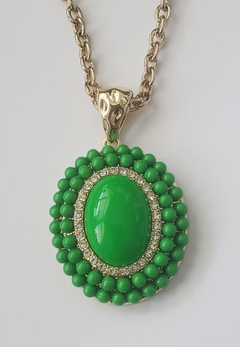 No Reserve Austrian Crystal Green Beads Pendant Necklace Chain