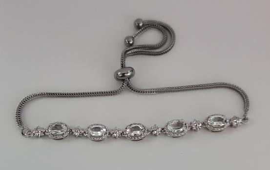 No Reserve Natural White Topaz Bolo Bracelet