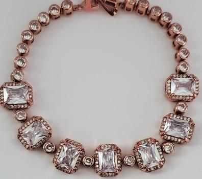 No Reserve White Topaz Rose Gold Tennis Bracelet