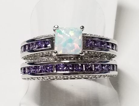 Brand New Opal & Amethyst Wedding Engagement 2 Ring Set Size 6