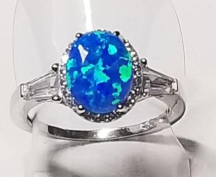 Platinum /.925 Sterling SIlver Blue Opal & Topaz Ring Size 8