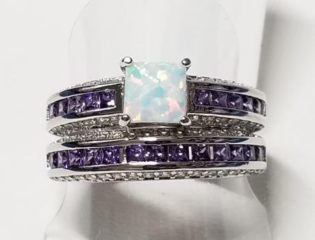 Brand New Opal & Amethyst Wedding Engagement 2 Ring Set Size 8