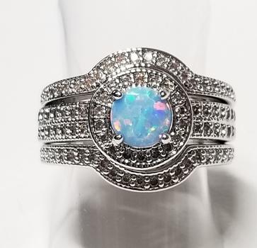 Blue Opal & Topaz Wedding Engagement 3 Ring Set Size 6