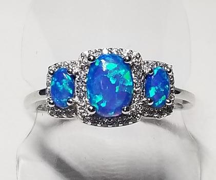 Platinum /.925 Sterling Silver Blue Opal & Topaz Size 8