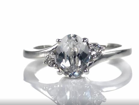 No Reserve White Swarovski Crystal Ring Platinum /.925 Sterling Silver Size 8