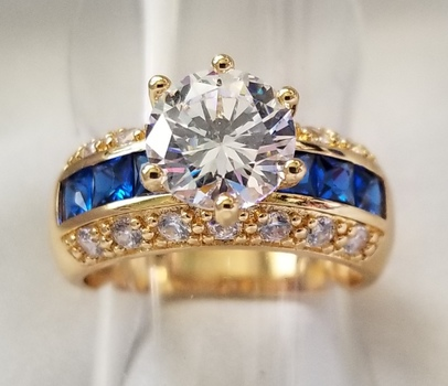 New Blue & White Sapphire Ring Size 8