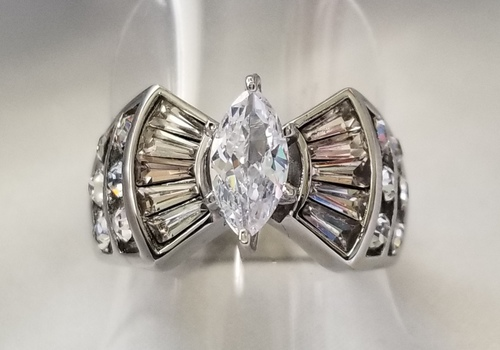New 316L Stainless Steel White Topaz Ring Size 6