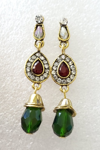 No Reserve Emerald & Ruby Crystal Statement Earrings