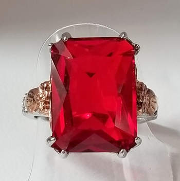 New Big Ruby 316L Stainless Steel 2 Tone Ring Size 9