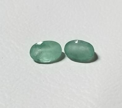 6x4mm Natural Emerald Oval Cut Pair Loose Gemstones