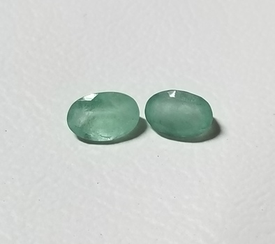 6x4mm Natural Emerald Oval Cut Pair Loose Gemstones
