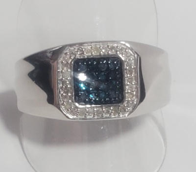 No Reserve .35 ct Natural Blue & White Diamond Platinum /.925 Sterling SIlver Ring Size 13
