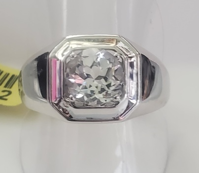 No Reserve Natural White Topaz Solitaire Ring Size 10