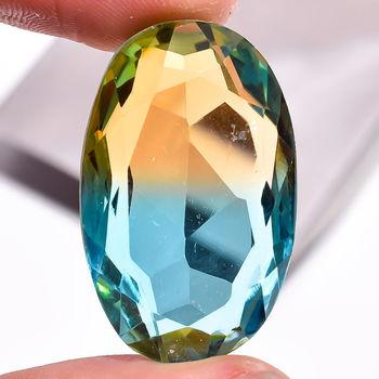 39.10 ct Natural Bi Color Blue & Golden Quartz Oval Cut Loose Gemstone