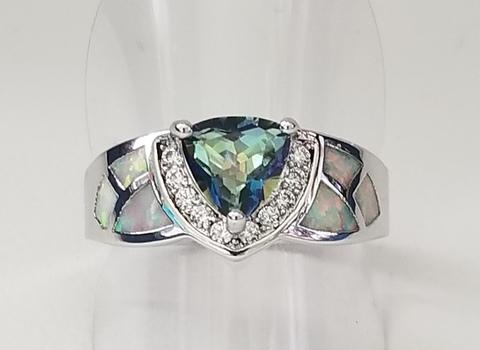 Brand New Inlaid Opal Rainbow Mystic Topaz Ring Size 8