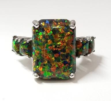 Platinum/ .925 Sterling Silver Black Opal Ring