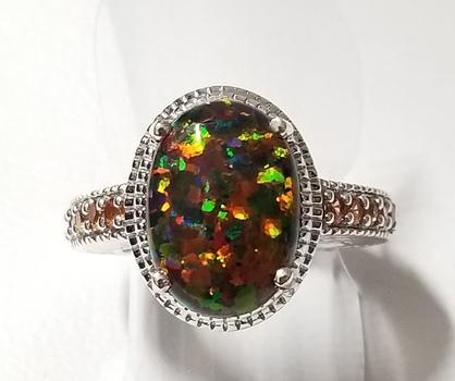 Platinum/ .925 Sterling Silver Black Opal & Garnet Ring