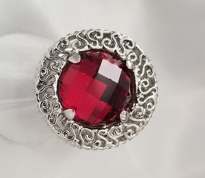 New Checkerboard Ruby 316L Stainless Steel Filigree Ring Size 9