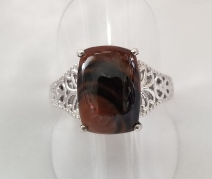 New Natural Coffee Obsidian Ring Size 10
