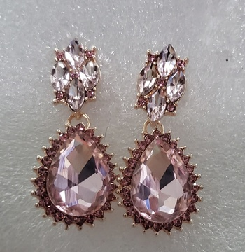 No Reserve Pink Rhinestone Statement Earrings