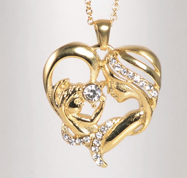 No Reserve Mother and Child Crystal Heart Pendant Necklace Chain
