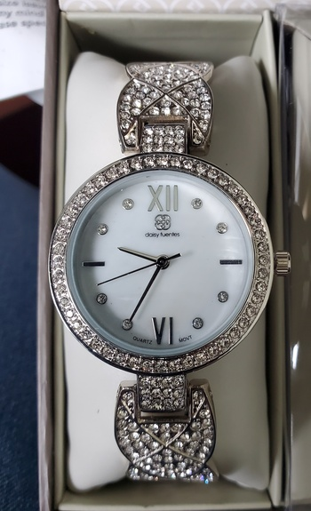 No Reserve Daisy Fuentes Silver Tone Crystal Cuff Watch, Earrings and Necklace