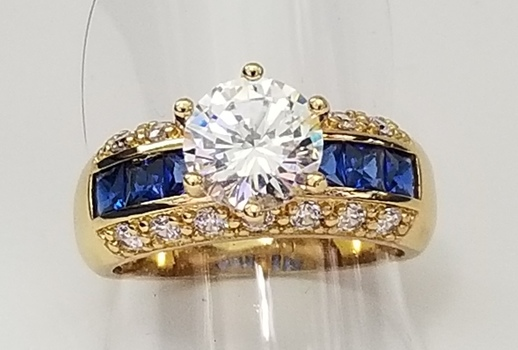 Blue & White Sapphire Ring Size 8