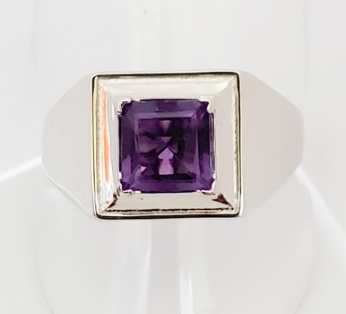No Reserve. Natural Amethyst Square Cut Ring Size 11