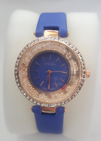 No Reserve Blue Rose Gold /316L Stainless Steel Floating Crystal Watch