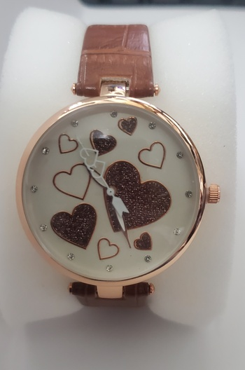 No Reserve Brown Hearts Sparkly Glitter Watch