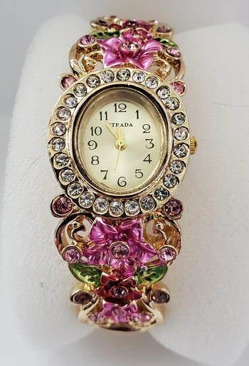 No Reserve Pink Enamel Crystal Flower Bangle Watch Japanese Movement