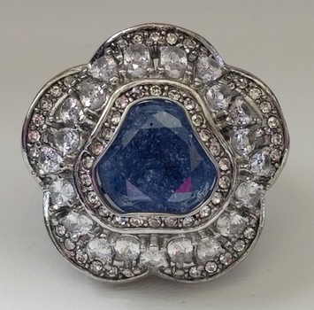 Stainless Steel Blue & White Sapphire Ring