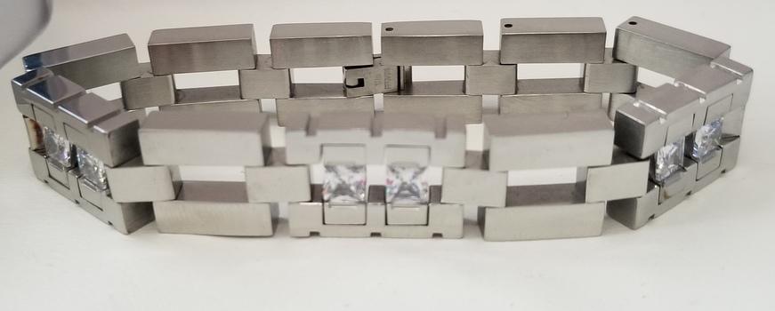 15mm 316L Stainless Steel White Topaz Bracelet